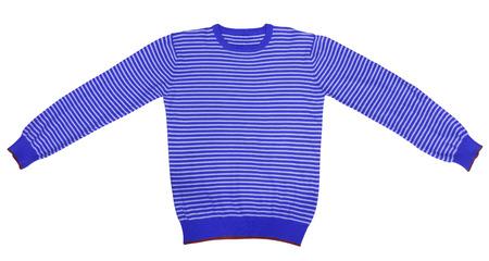 white sleeve: Dark blue and white striped long sleeve t-shirt isolated on white. Stock Photo