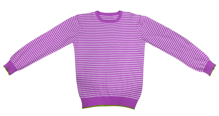 sleeve: Purple and white striped long sleeve t-shirt isolated on white. Stock Photo
