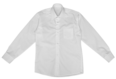 long sleeves: White shirt with long sleeves isolated on white background.