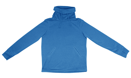sweatshirt: Light blue sweatshirt with thick collar isolated on white background.