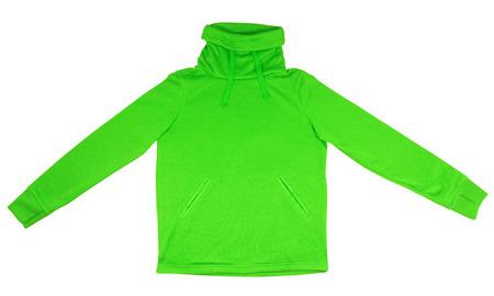 sweatshirt: Green sweatshirt with thick collar isolated on white background.