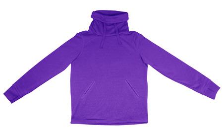 sweatshirt: Purple sweatshirt with thick collar isolated on white background.