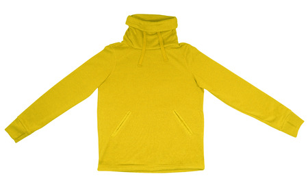 sudadera: Yellow sweatshirt with thick collar isolated on white background.