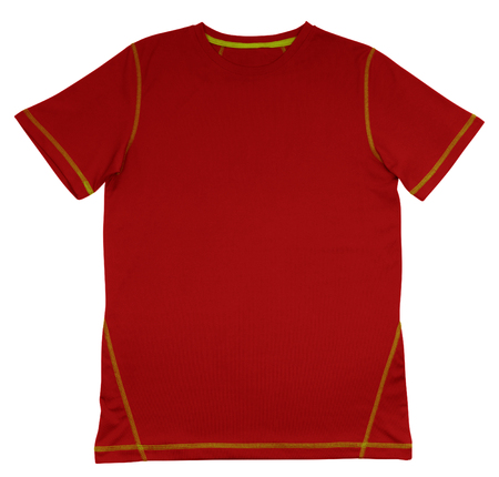 red tshirt: Red T-Shirt with green seam isolated on white background.