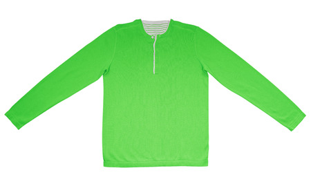 long sleeves: Green warm shirt with long sleeves isolated on white.