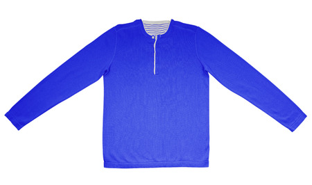 warm shirt: Blue warm shirt with long sleeves isolated on white.
