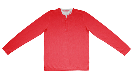 long sleeves: Red warm shirt with long sleeves isolated on white.