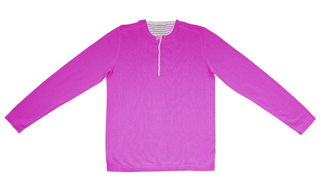 warm shirt: Pink warm shirt with long sleeves isolated on white. Stock Photo