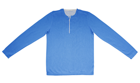 warm shirt: Light blue warm shirt with long sleeves isolated on white. Stock Photo