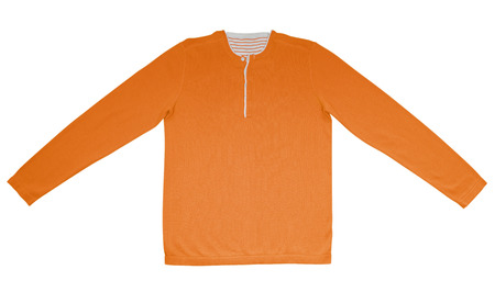 long sleeves: Orange warm shirt with long sleeves isolated on white.