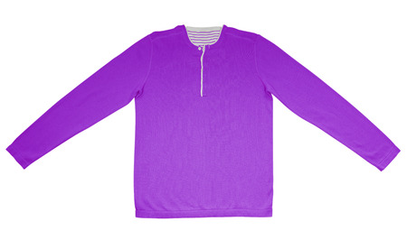 warm shirt: Purple warm shirt with long sleeves isolated on white. Stock Photo