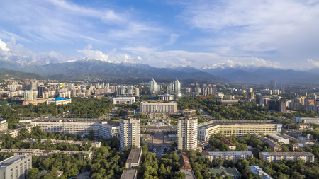 Aerial view of the building of city administration at the Republic Square in Almaty, Kazakhstan. Stock Photo