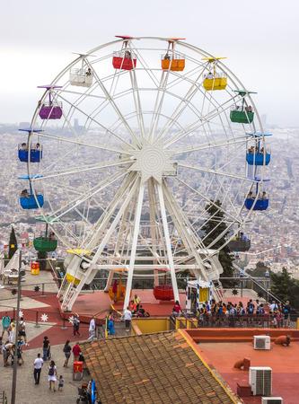 ferriswheel: BARCELONA, SPAIN - JULY 3, 2016: Ferris wheel in Tibidabo, Barcelona