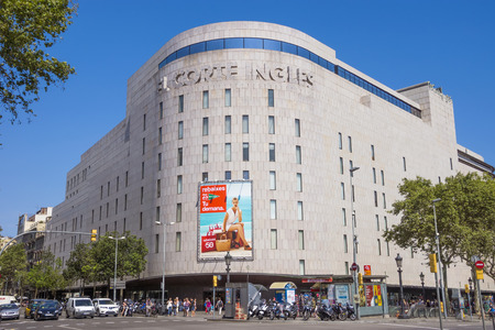 BARCELONA, SPAIN - JULY 5, 2016: Facade of the mall El Corte Ingles in the Placa de Catalunya. It is one of the largest shopping centers in Europe.