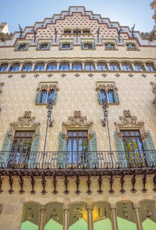 josep: BARCELONA, SPAIN - JULY 5, 2016: The facade of the Casa Amatller designed by Josep Puig i Cadafalch
