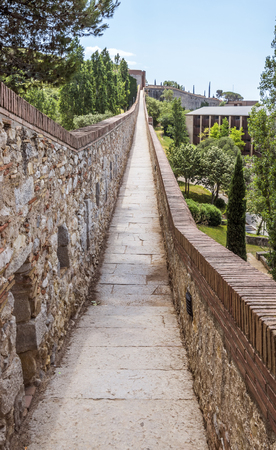 View along the ancient city wall of Girona, Spain Stock Photo