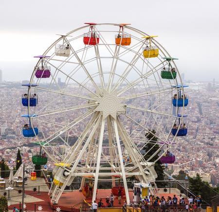echnology: BARCELONA, SPAIN - JULY 3, 2016: Ferris wheel in Tibidabo, Barcelona