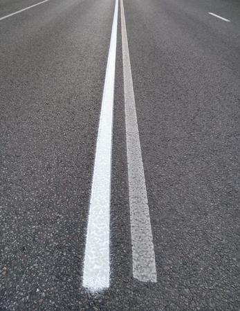 solid line: Markings on the road - The double solid line Stock Photo