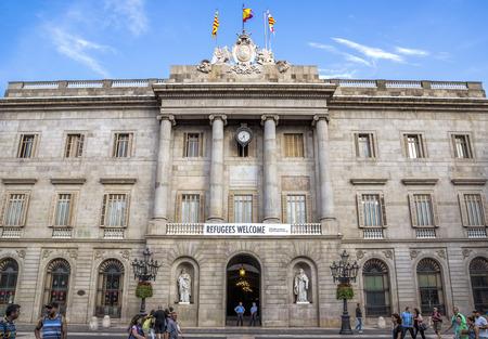 BARCELONA, SPAIN - JULY 8, 2016: City Hall on Placa de Sant Jaume. The Palau de la Generalitat is a historic palace in Barcelona