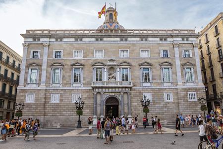 generalitat: BARCELONA, SPAIN - JULY 8, 2016: City Hall on Placa de Sant Jaume. The Palau de la Generalitat is a historic palace in Barcelona