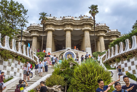 BARCELONA, SPAIN - JULY 3, 2016: Park Guell in Barcelona. Park Guell (1914) is the famous architectural town art designed by Antoni Gaudi. Editorial