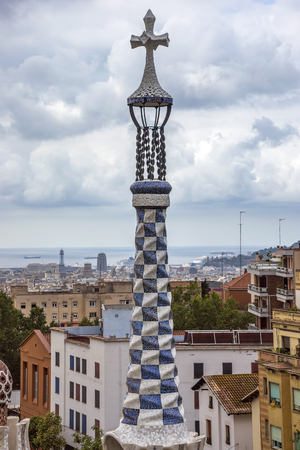 BARCELONA, SPAIN - JULY 3, 2016: Details of building in the Parc Guell - public garden in Barcelona, designed and built by Guadi and Josep Jujol in 1914.