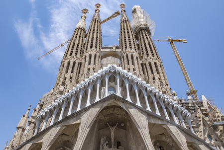 BARCELONA, SPAIN - JULY 5, 2016: La Sagrada Familia - the impressive cathedral designed by Gaudi, which is being build since 19 March 1882 and is not finished yet.
