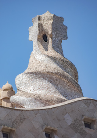 BARCELONA, SPAIN - JULY 5, 2016: Closeup details of Casa Mila, better known as La Pedrera. This famous building was designed by Antoni Gaudi, included in the list of UNESCO.