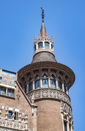 BARCELONA, SPAIN - JULY 5, 2016: Closeup of Casa de les Punxes (Casa Terrades) on Avinguda Diagonal street. The building in modernism style was built 1902-1905 and designed by Josep Puig i Cadafalch