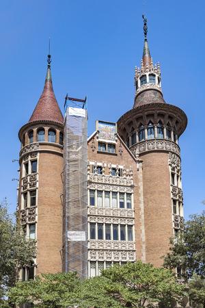 josep: BARCELONA, SPAIN - JULY 5, 2016: Casa de les Punxes (Casa Terrades) on Avinguda Diagonal street. The building in modernism style was built 1902-1905 and designed by Josep Puig i Cadafalch Editorial