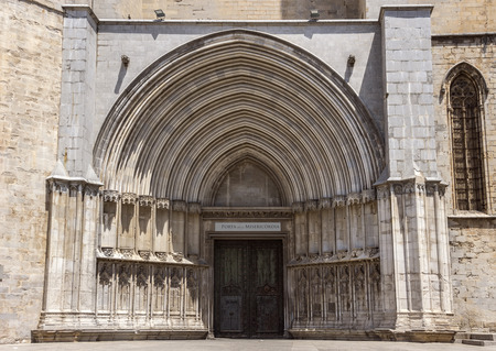 jewish town: Entrance to Saint Mary Cathedral in Girona, Catalonia, Spain