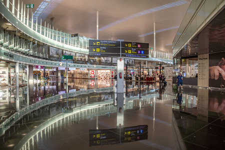 ticketing: BARCELONA, SPAIN - JULY 14, 2016: The public area at the Terminal T1 of El Prat-Barcelona airport.