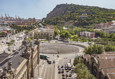 montjuic: BARCELONA, SPAIN - JULY 4, 2016: Aerial view to Montjuic mountain from Christopher Columbus monument.