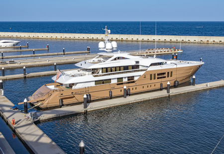 BARCELONA, SPAIN - JULY 3, 2016: Luxury yacht moored at the harbor Port Forum. Harbor is in the north of Barcelona.