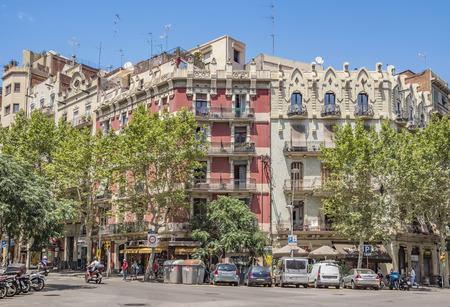 carrer: BARCELONA, SPAIN - JULY 5, 2016: Architecture along Carrer de la Marina street in Barcelona, Spain Editorial