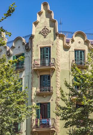 rambla: BARCELONA, SPAIN - JULY 7, 2016: Architecture along Rambla del Poblenou street in Barcelona, Spain
