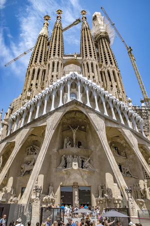 sagrada: BARCELONA, SPAIN - JULY 5, 2016: La Sagrada Familia - the impressive cathedral designed by Gaudi, which is being build since 19 March 1882 and is not finished yet