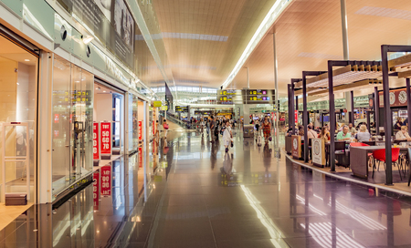 BARCELONA, SPAIN - JULY 14, 2016: The public area at the Terminal T1 of El Prat-Barcelona airport.