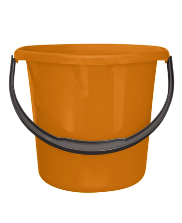 everyday jobs: Orange plastic bucket isolated on white background