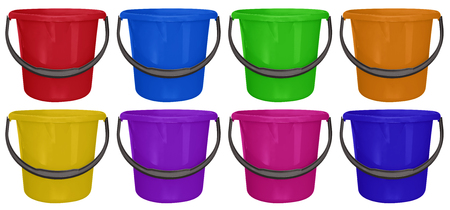 Colorful plastic buckets isolated on white background