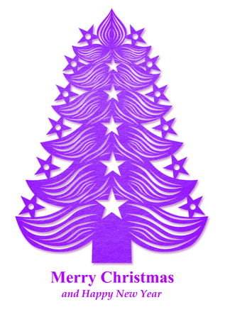 Purple Christmas tree made of paper on white background