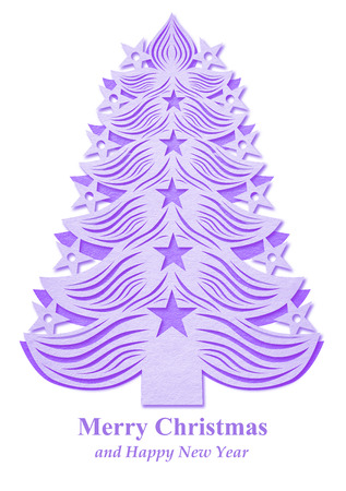 Violet Christmas tree made of paper on white background Stock Photo