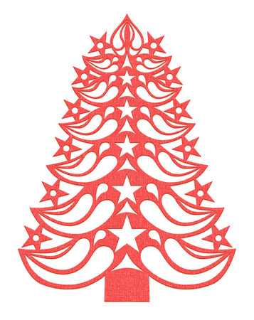 Red Christmas tree made of paper on white background