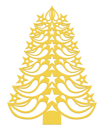 Yellow Christmas tree made of paper on white background