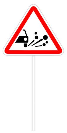 gravel: Warning traffic sign isolated on white 3D illustration - Loose  gravel