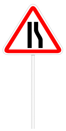 narrows: Warning traffic sign isolated on white 3D illustration - Road narrows