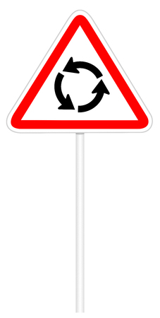 roundabout: Warning traffic sign isolated on white 3D illustration - Roundabout