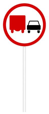 Prohibitory traffic sign isolated on white 3D illustration - Overtaking trucks