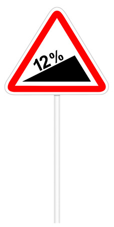steep: Warning traffic sign isolated on white 3D illustration - Steep climb Stock Photo