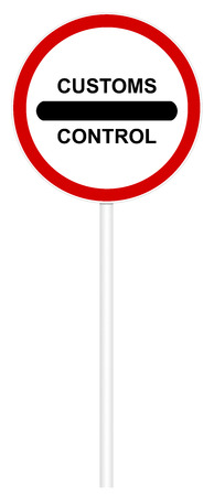 customs: Traffic sign isolated on white 3D illustration - Customs Control Stock Photo